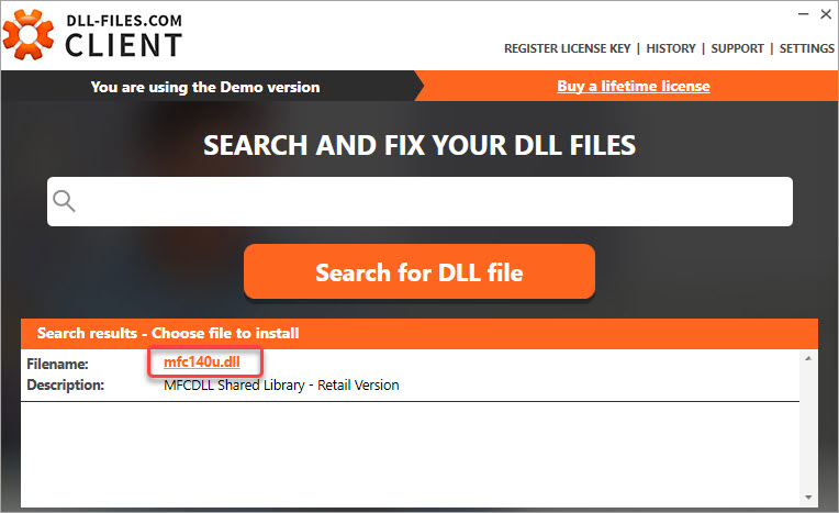 search for the mfc140u.dll file
