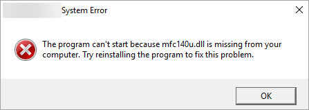 mfc140u.dll missing from your computer