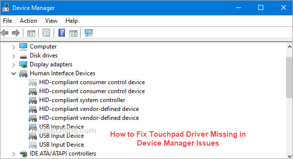 how to fix touchpad driver missing in device manager issues