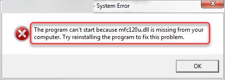 how to fix mfc12u.dll missing error
