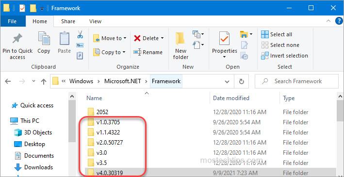 how to check .net framework version through file explorer