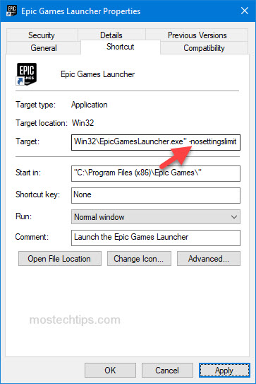 force epic games launcher to run with high graphics settings