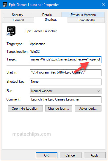 force epic games launcher to run with opengl