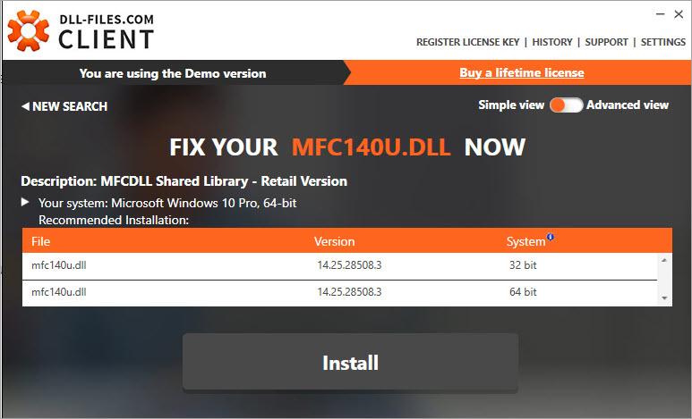 install the mfc140u.dll file