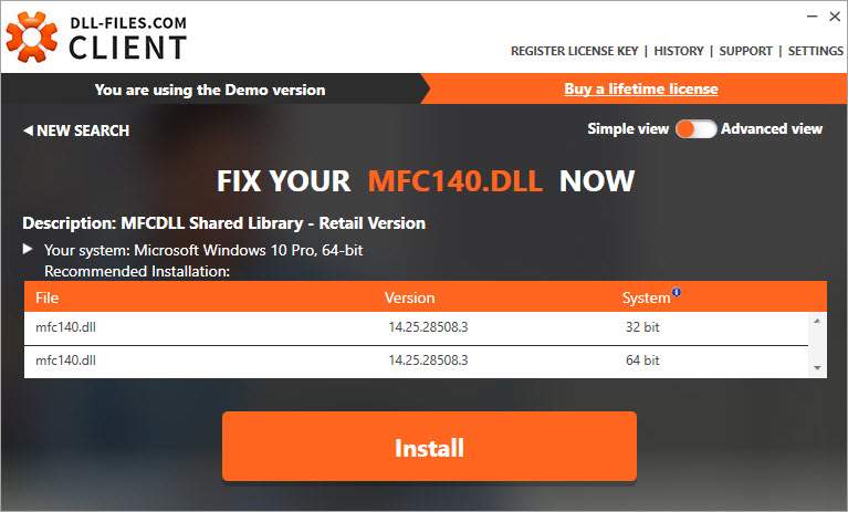 install the mfc140.dll file