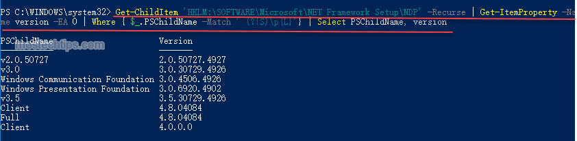 how to use powershell to check .net framework version