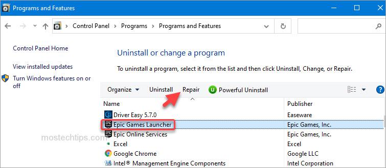 repair epic games launcher