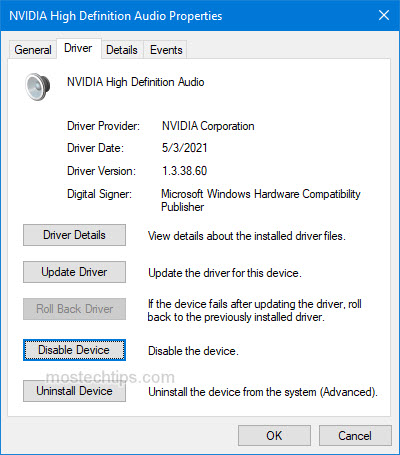 roll back the hd audio device driver