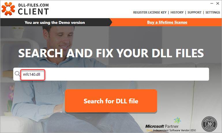 search for the mfc140.dll file
