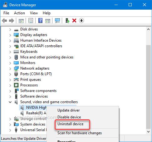 uninstall hd audio device driver
