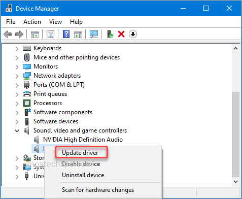 show how to update audio driver via device manager